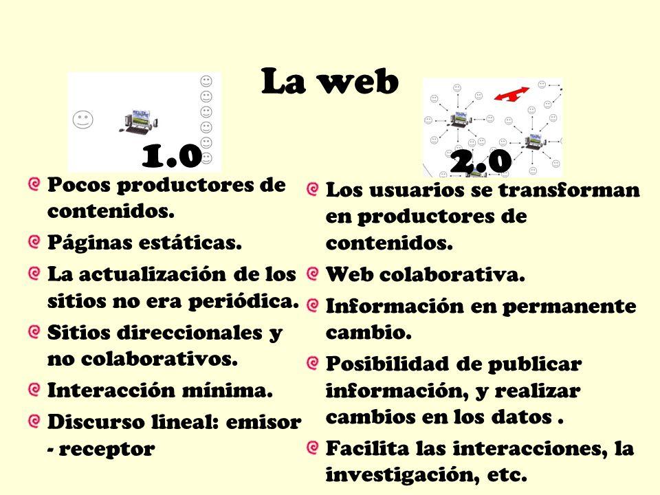 La web 1.0 2.0 Pocos productores de contenidos. Páginas estáticas. La actualización de los sitios no era periódica. Sitios direccionales y no colabora