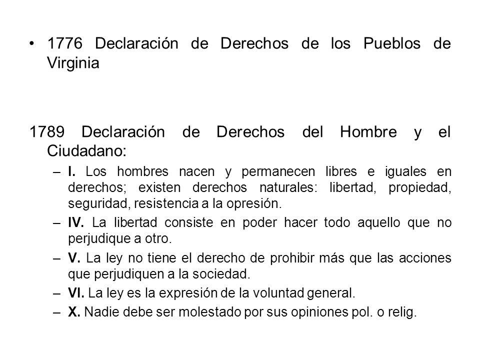 1776 Declaración de Derechos de los Pueblos de Virginia 1789 Declaración de Derechos del Hombre y el Ciudadano: –I. Los hombres nacen y permanecen lib
