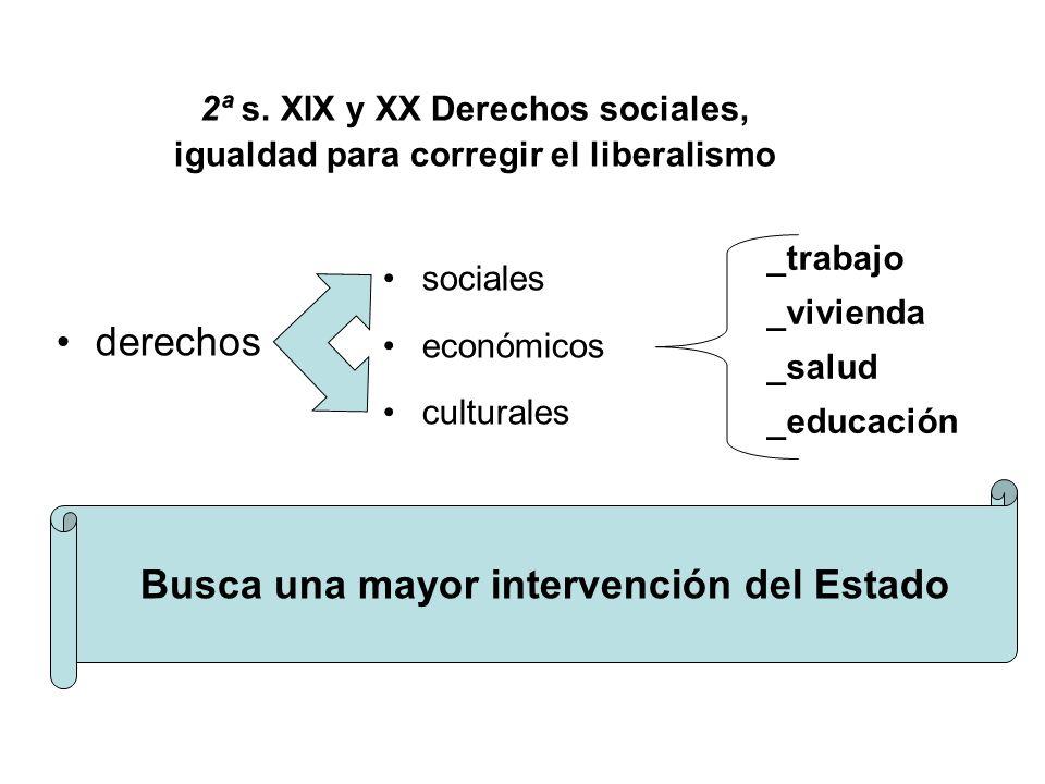 2ª s. XIX y XX Derechos sociales, igualdad para corregir el liberalismo derechos sociales económicos culturales _trabajo _vivienda _salud _educación B