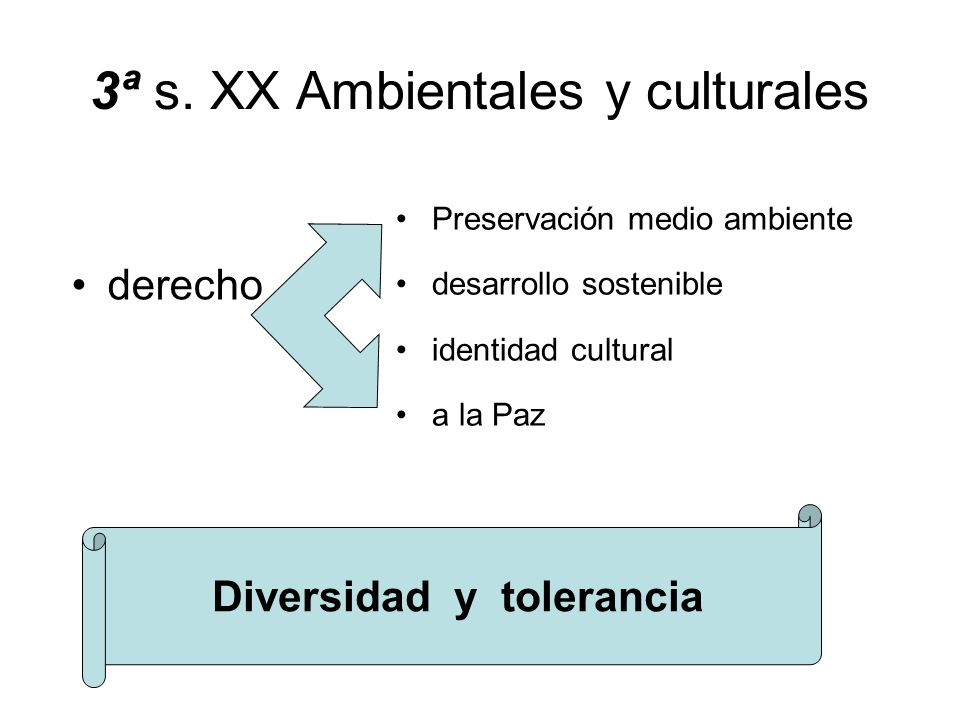 3ª s. XX Ambientales y culturales derecho Preservación medio ambiente desarrollo sostenible identidad cultural a la Paz Diversidad y tolerancia