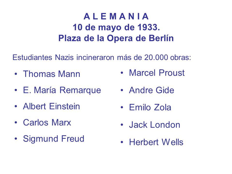 A L E M A N I A 10 de mayo de 1933. Plaza de la Opera de Berlín Thomas Mann E. María Remarque Albert Einstein Carlos Marx Sigmund Freud Marcel Proust