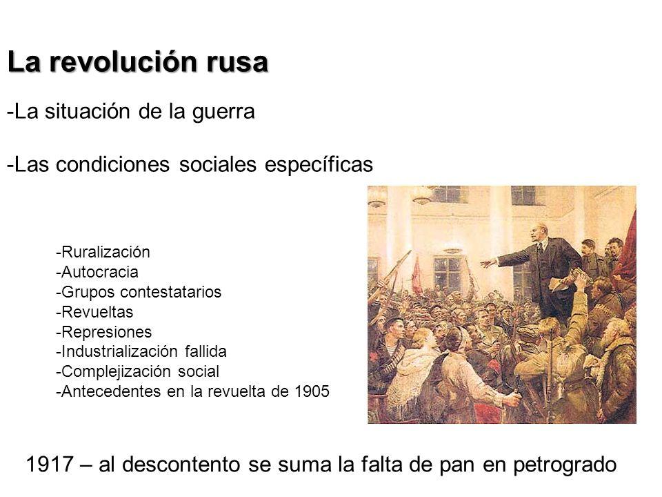El escenario del doble poder La Duma y los soviets Lenin y el antagonismo con el gobierno provisional Revolución de Octubre