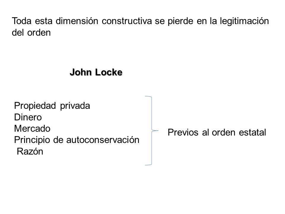 Toda esta dimensión constructiva se pierde en la legitimación del orden John Locke Propiedad privada Dinero Mercado Principio de autoconservación Razó
