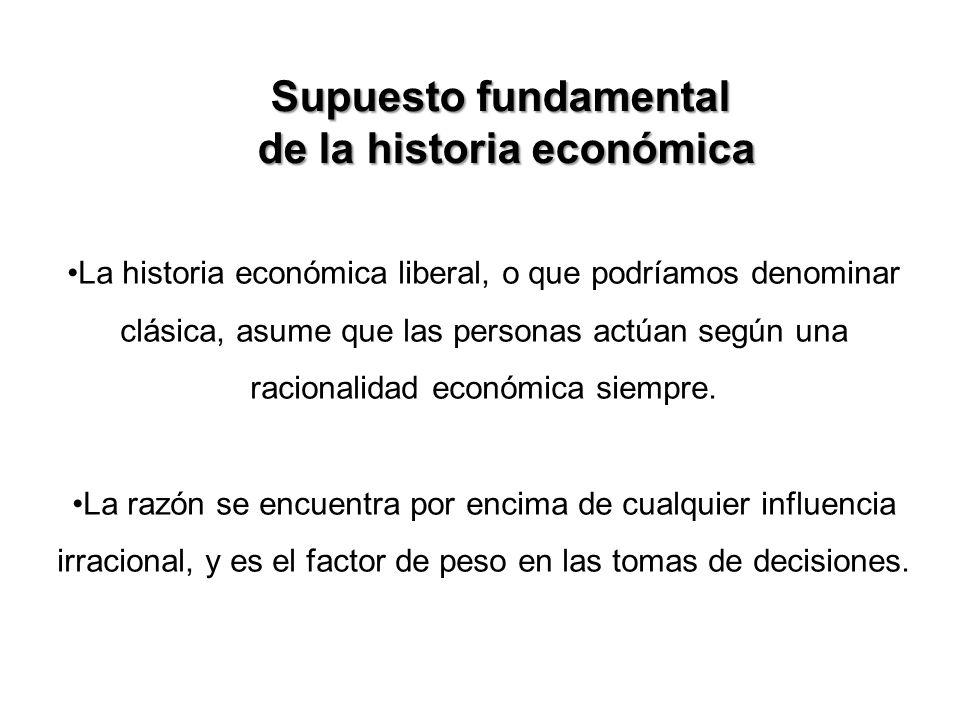 La historia económica liberal, o que podríamos denominar clásica, asume que las personas actúan según una racionalidad económica siempre. La razón se