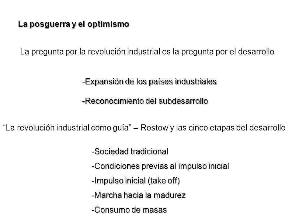 La posguerra y el optimismo La pregunta por la revolución industrial es la pregunta por el desarrollo -Expansión de los países industriales -Reconocim