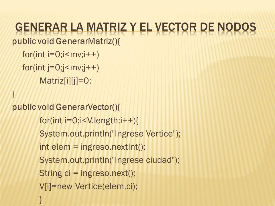 public void generarArco(){ Scanner entrada = new Scanner(System.in); char op = s ; while (op != n ) { System.out.println( Ingrese Vertice ); int elem = entrada.nextInt(); System.out.println( Ingrese Vertice 2 ); int elem2 = entrada.nextInt(); AgregoArco(elem,elem2); System.out.println( Continuar s/n? ); op = entrada.next().charAt(0);} } // Agrego arco public void AgregoArco (int va, int vb){ if((va =mv)    (vb =mv) ) System.out.println( no existe vertice ); elseMatriz[vb][va]=1;}