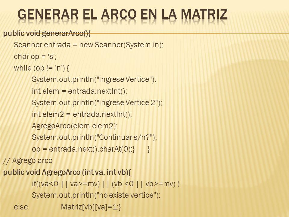 public void Mostrar(int mv){ for(int i=0;i<mv;i++){ System.out.println( \n ); for(int j=0;j<mv;j++){ System.out.print(Matriz[i][j]+ );} }