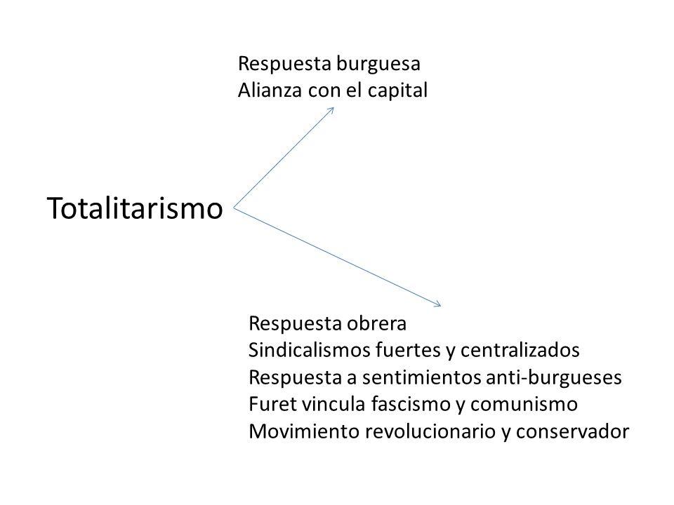 Totalitarismo Respuesta burguesa Alianza con el capital Respuesta obrera Sindicalismos fuertes y centralizados Respuesta a sentimientos anti-burgueses