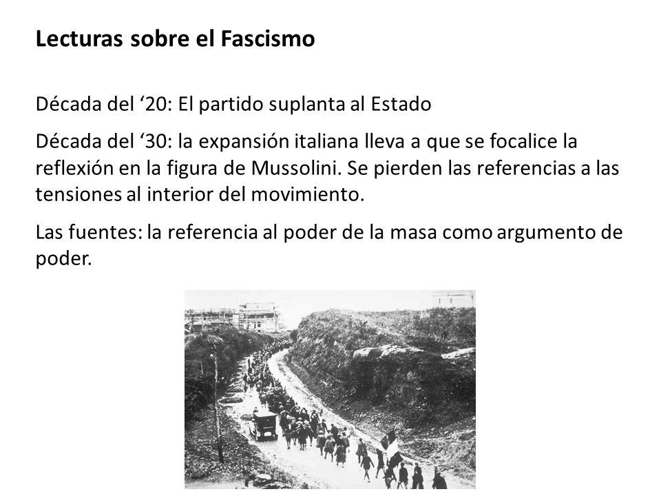 Lecturas sobre el Fascismo Década del 20: El partido suplanta al Estado Década del 30: la expansión italiana lleva a que se focalice la reflexión en l