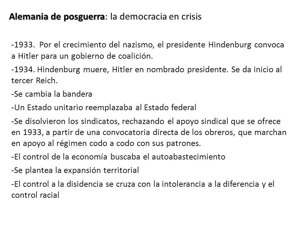 Alemania de posguerra Alemania de posguerra: la democracia en crisis -1933. Por el crecimiento del nazismo, el presidente Hindenburg convoca a Hitler