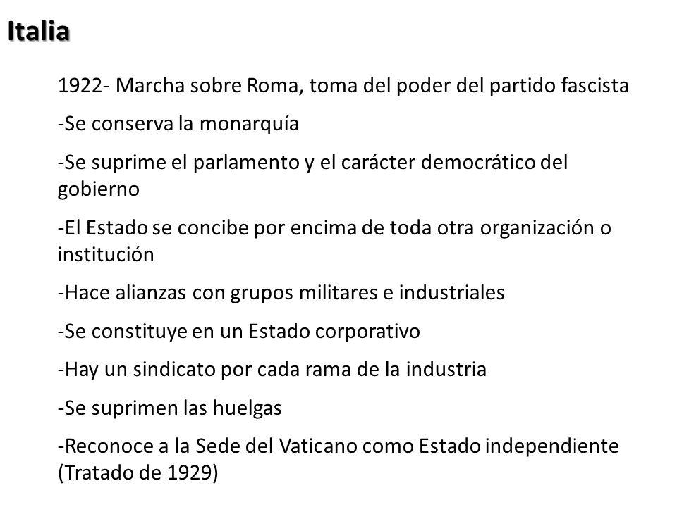 Italia 1922- Marcha sobre Roma, toma del poder del partido fascista -Se conserva la monarquía -Se suprime el parlamento y el carácter democrático del