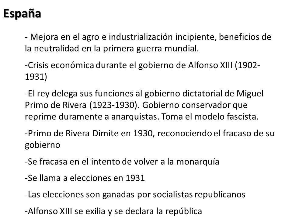 España -Queda dividida entre monárquicos y republicanos -Religiosos y anti-religiosos -Civiles y militares -En 1936 el golpe militar de Francisco Franco toma el poder -Se da inicio a la guerra civil con fuerte presencia de componentes extranjeros.