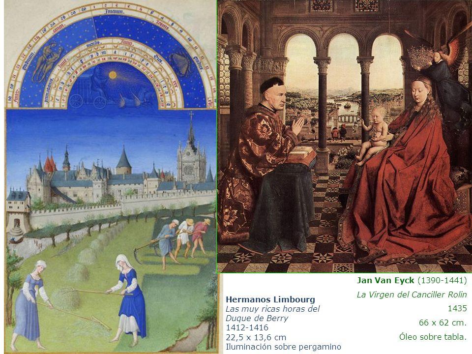 Hermanos Limbourg Las muy ricas horas del Duque de Berry 1412-1416 22,5 x 13,6 cm Iluminación sobre pergamino Jan Van Eyck (1390-1441) La Virgen del C