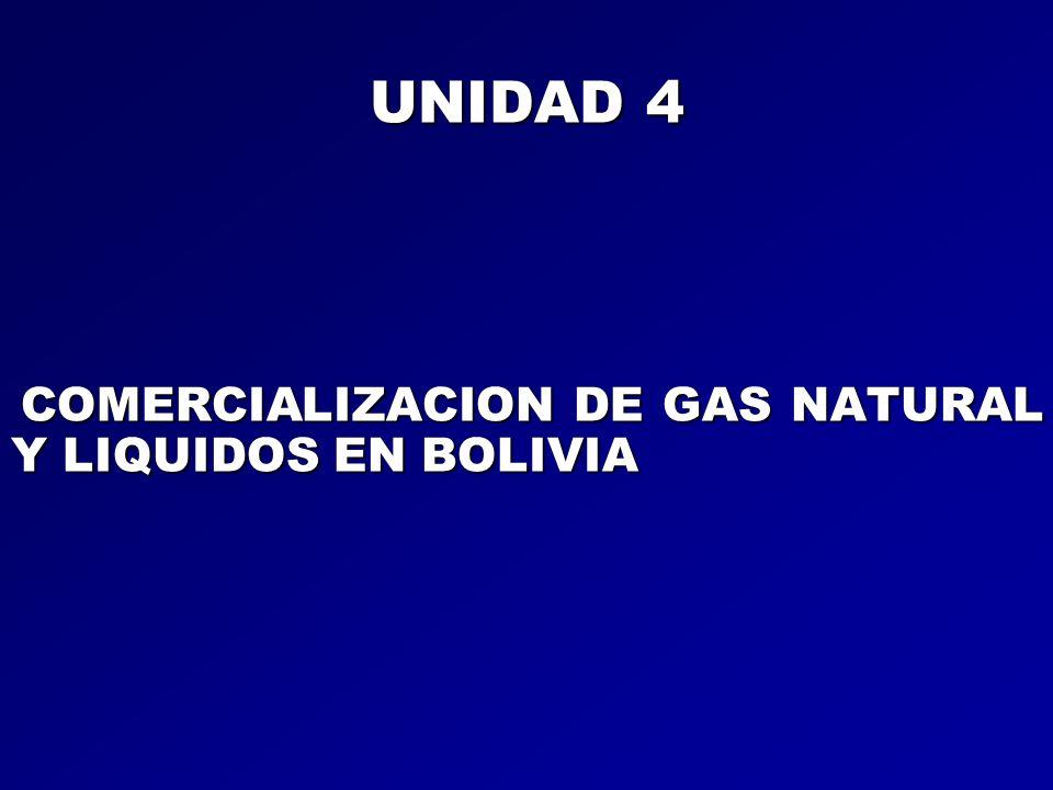 UNIDAD 4 COMERCIALIZACION DE GAS NATURAL Y LIQUIDOS EN BOLIVIA COMERCIALIZACION DE GAS NATURAL Y LIQUIDOS EN BOLIVIA