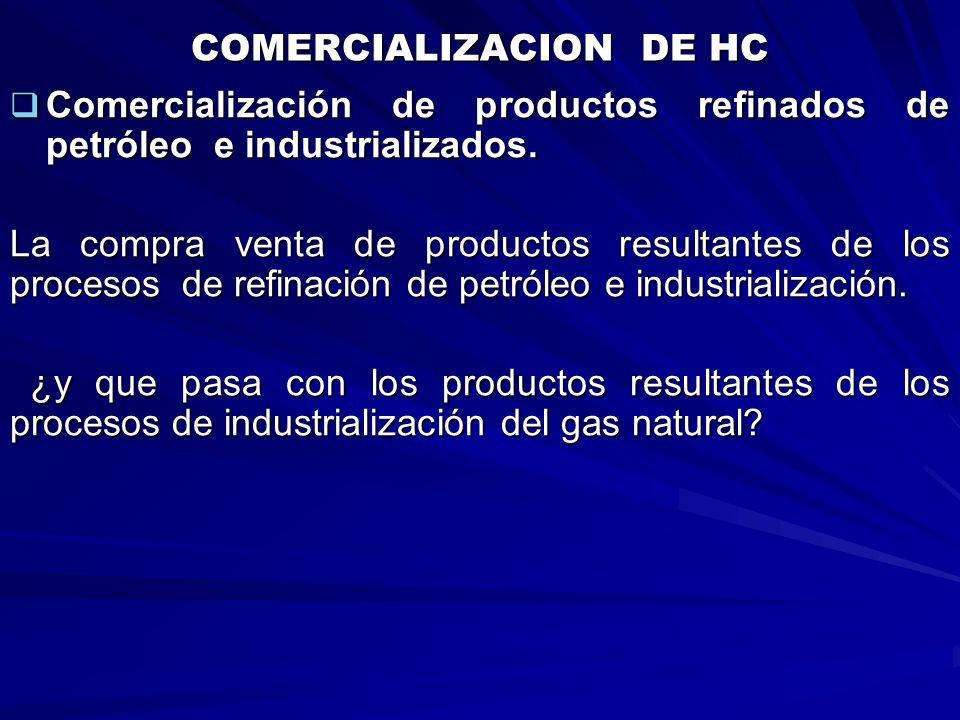COMERCIALIZACION DE HC Comercialización de productos refinados de petróleo e industrializados. Comercialización de productos refinados de petróleo e i