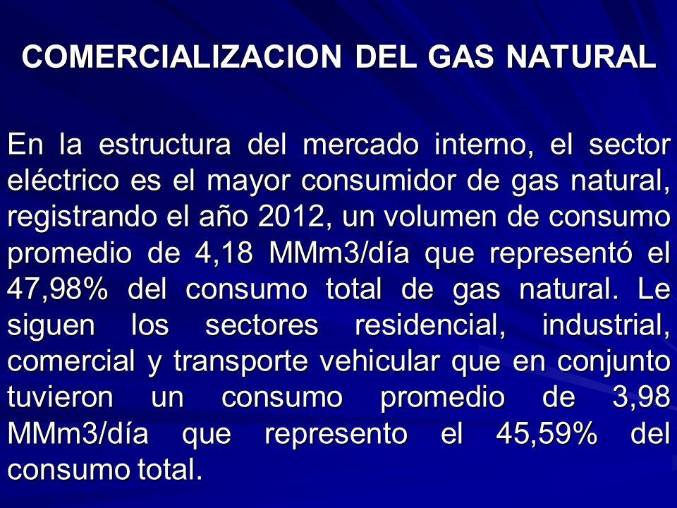 En la estructura del mercado interno, el sector eléctrico es el mayor consumidor de gas natural, registrando el año 2012, un volumen de consumo promed