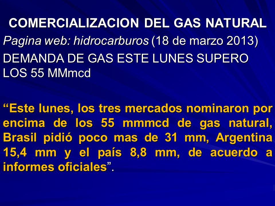 COMERCIALIZACION DEL GAS NATURAL Pagina web: hidrocarburos (18 de marzo 2013) DEMANDA DE GAS ESTE LUNES SUPERO LOS 55 MMmcd Este lunes, los tres merca