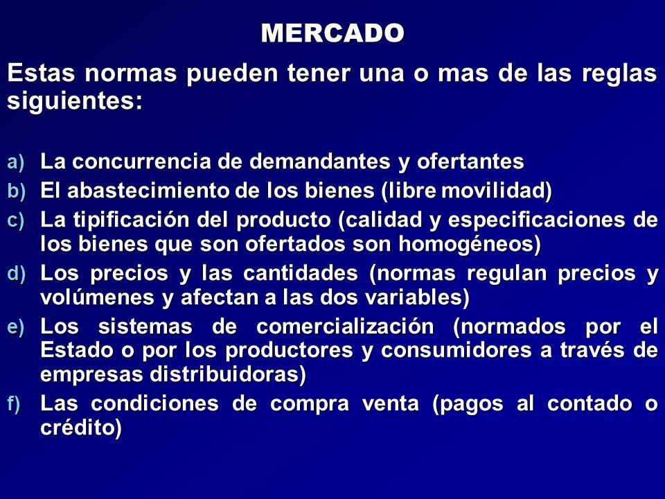 MERCADO Estas normas pueden tener una o mas de las reglas siguientes: a) La concurrencia de demandantes y ofertantes b) El abastecimiento de los biene