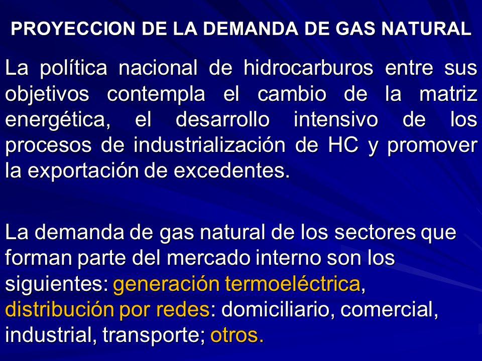 PROYECCION DE LA DEMANDA DE GAS NATURAL La política nacional de hidrocarburos entre sus objetivos contempla el cambio de la matriz energética, el desa