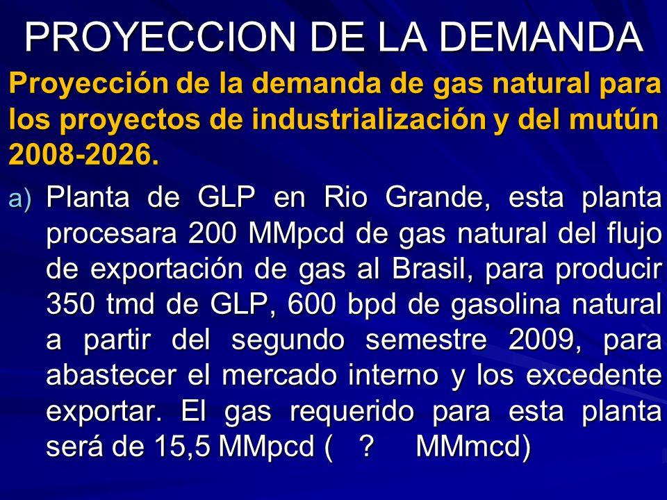 PROYECCION DE LA DEMANDA Proyección de la demanda de gas natural para los proyectos de industrialización y del mutún 2008-2026. a) Planta de GLP en Ri
