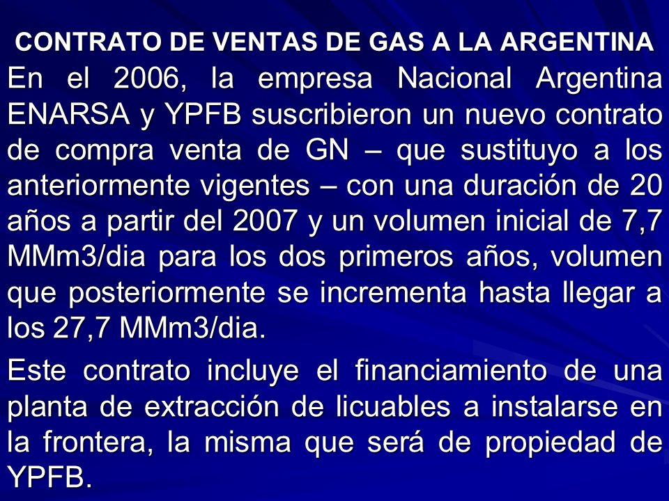 CONTRATO DE VENTAS DE GAS A LA ARGENTINA En el 2006, la empresa Nacional Argentina ENARSA y YPFB suscribieron un nuevo contrato de compra venta de GN