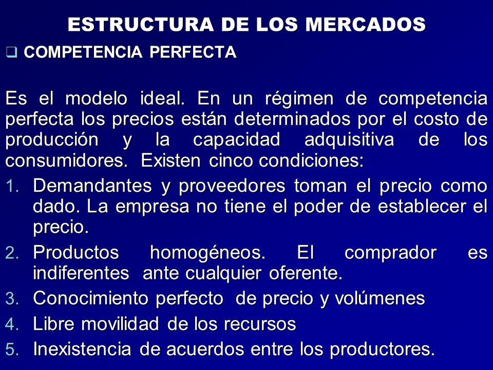 ESTRUCTURA DE LOS MERCADOS COMPETENCIA PERFECTA COMPETENCIA PERFECTA Es el modelo ideal. En un régimen de competencia perfecta los precios están deter