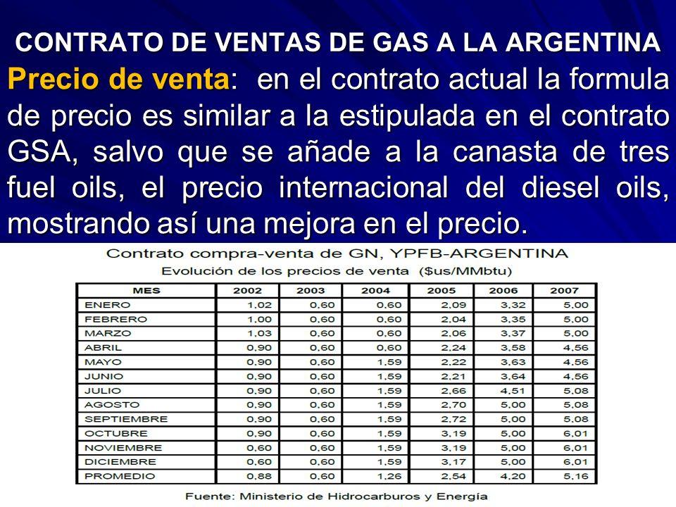 CONTRATO DE VENTAS DE GAS A LA ARGENTINA Precio de venta: en el contrato actual la formula de precio es similar a la estipulada en el contrato GSA, sa