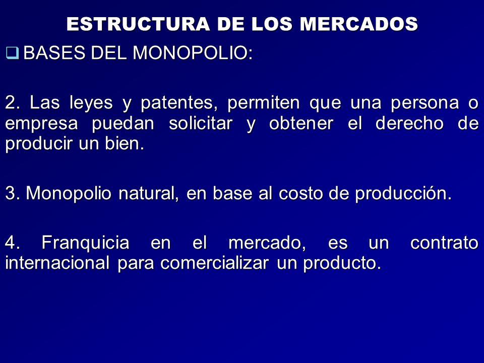 ESTRUCTURA DE LOS MERCADOS BASES DEL MONOPOLIO: BASES DEL MONOPOLIO: 2. Las leyes y patentes, permiten que una persona o empresa puedan solicitar y ob