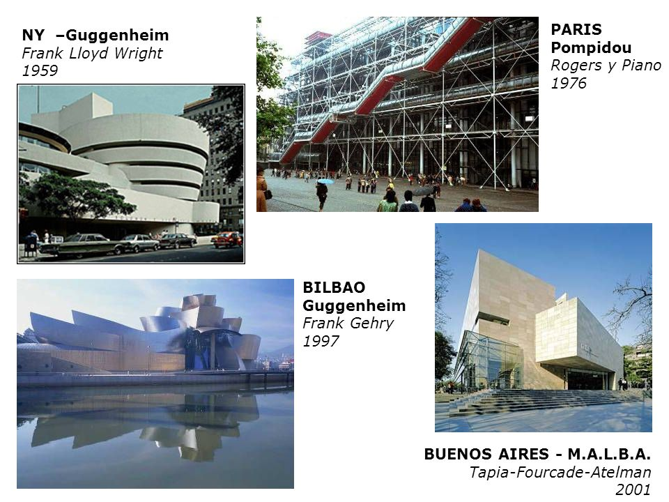 BILBAO Guggenheim Frank Gehry 1997 NY –Guggenheim Frank Lloyd Wright 1959 PARIS Pompidou Rogers y Piano 1976 BUENOS AIRES - M.A.L.B.A. Tapia-Fourcade-