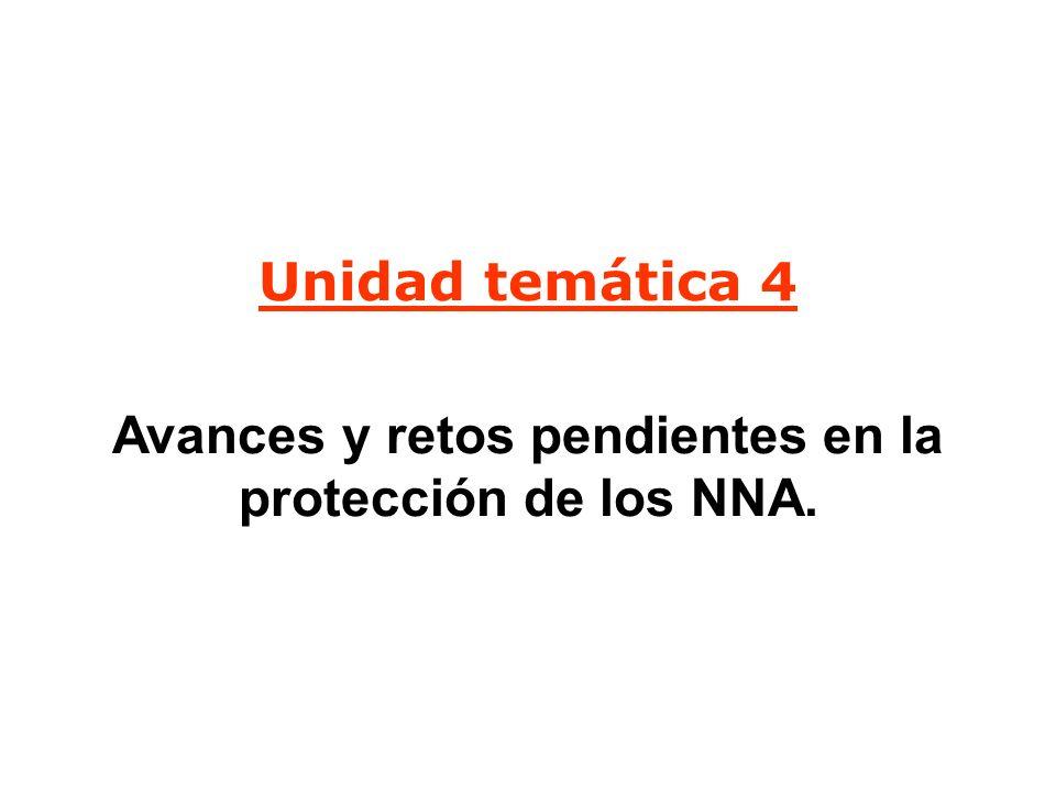 Unidad temática 4 Avances y retos pendientes en la protección de los NNA.