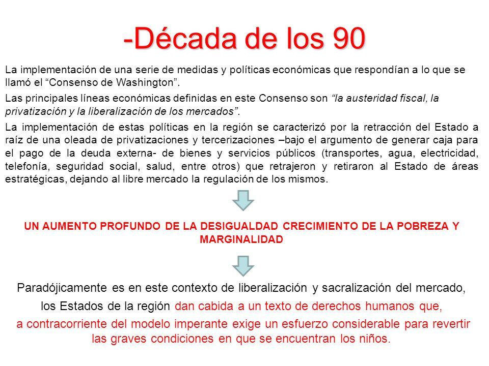 -Década de los 90 La implementación de una serie de medidas y políticas económicas que respondían a lo que se llamó el Consenso de Washington. Las pri