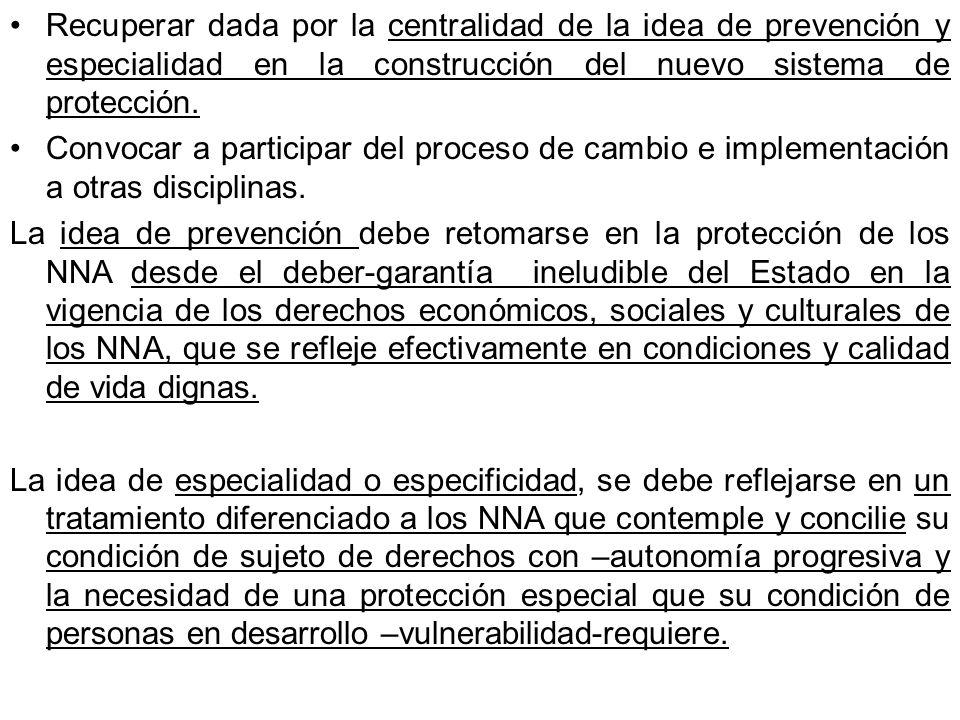Recuperar dada por la centralidad de la idea de prevención y especialidad en la construcción del nuevo sistema de protección. Convocar a participar de