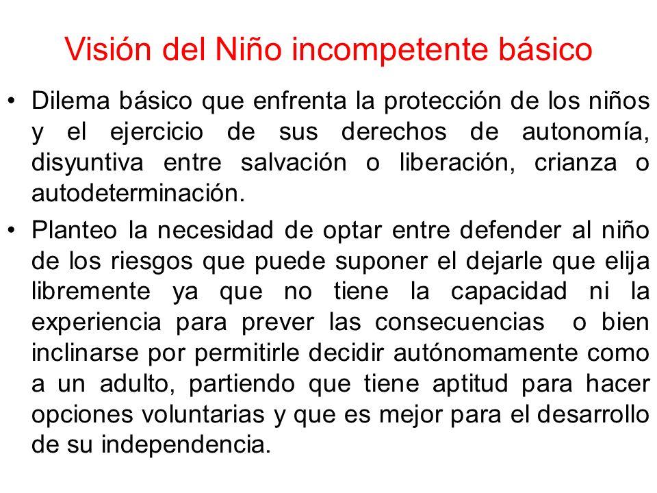 Visión del Niño incompetente básico Dilema básico que enfrenta la protección de los niños y el ejercicio de sus derechos de autonomía, disyuntiva entr
