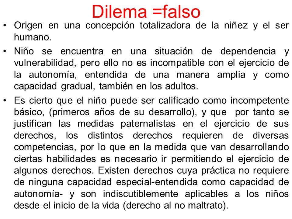 Dilema =falso Origen en una concepción totalizadora de la niñez y el ser humano. Niño se encuentra en una situación de dependencia y vulnerabilidad, p