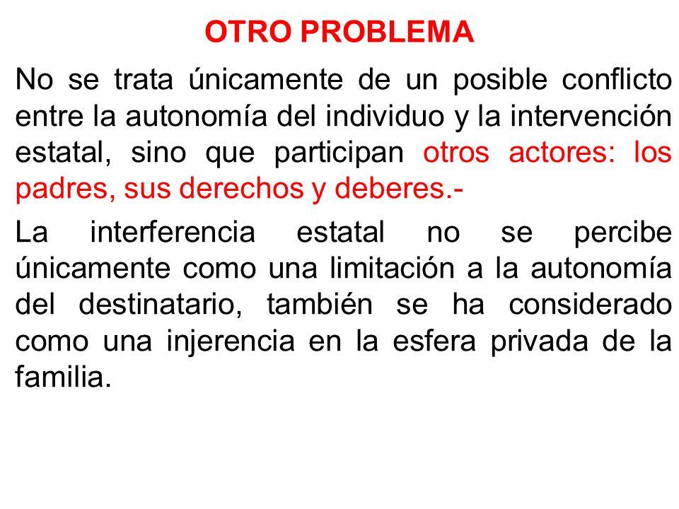 OTRO PROBLEMA No se trata únicamente de un posible conflicto entre la autonomía del individuo y la intervención estatal, sino que participan otros act