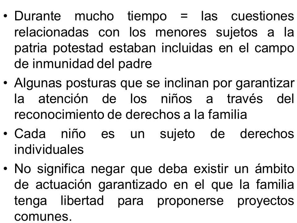 Durante mucho tiempo = las cuestiones relacionadas con los menores sujetos a la patria potestad estaban incluidas en el campo de inmunidad del padre A