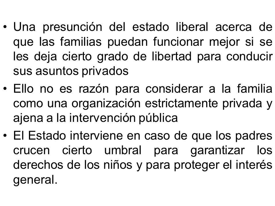 Una presunción del estado liberal acerca de que las familias puedan funcionar mejor si se les deja cierto grado de libertad para conducir sus asuntos
