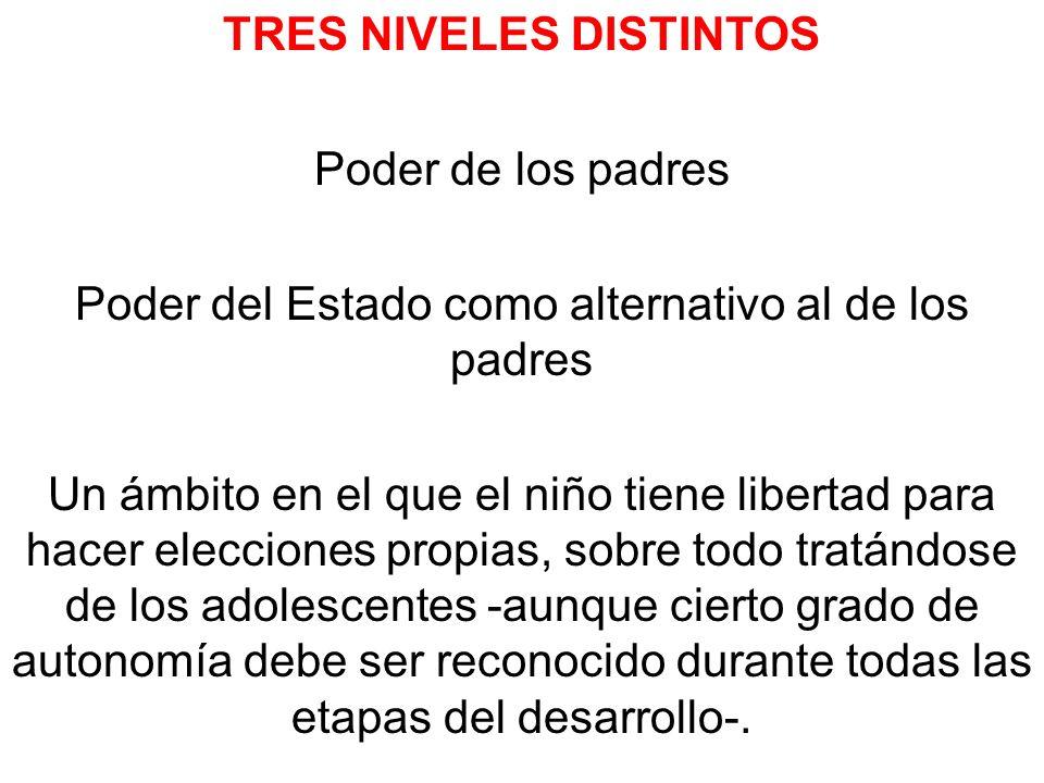 TRES NIVELES DISTINTOS Poder de los padres Poder del Estado como alternativo al de los padres Un ámbito en el que el niño tiene libertad para hacer el