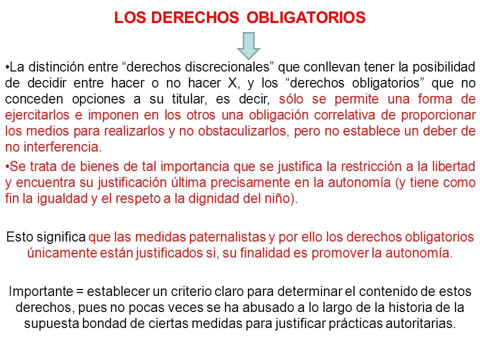LOS DERECHOS OBLIGATORIOS La distinción entre derechos discrecionales que conllevan tener la posibilidad de decidir entre hacer o no hacer X, y los de