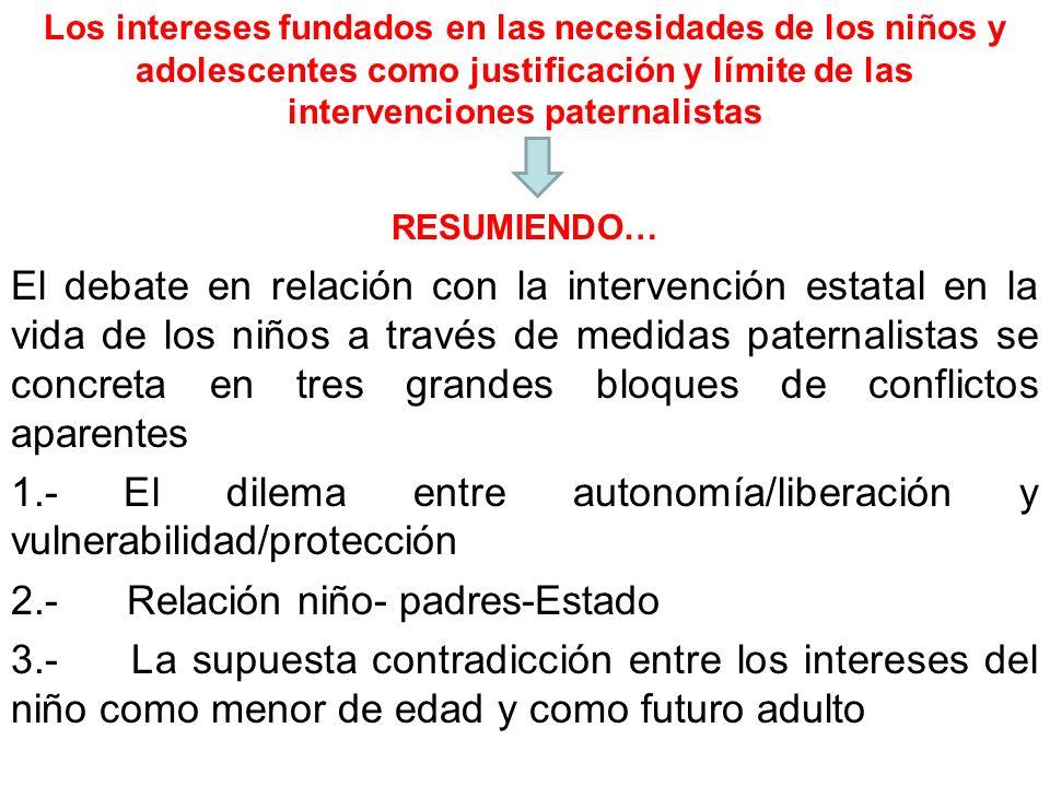 Los intereses fundados en las necesidades de los niños y adolescentes como justificación y límite de las intervenciones paternalistas RESUMIENDO… El d