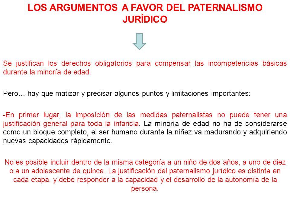 LOS ARGUMENTOS A FAVOR DEL PATERNALISMO JURÍDICO Se justifican los derechos obligatorios para compensar las incompetencias básicas durante la minoría