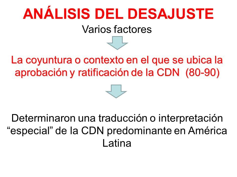 ANÁLISIS DEL DESAJUSTE Varios factores La coyuntura o contexto en el que se ubica la aprobación y ratificación de la CDN (80-90) Determinaron una trad