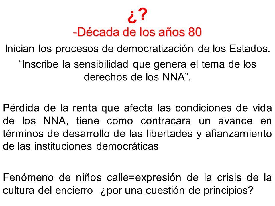 ¿? -Década de los años 80 Inician los procesos de democratización de los Estados. Inscribe la sensibilidad que genera el tema de los derechos de los N