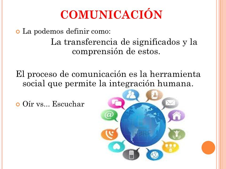 COMUNICACIÓN La podemos definir como: La transferencia de significados y la comprensión de estos. El proceso de comunicación es la herramienta social