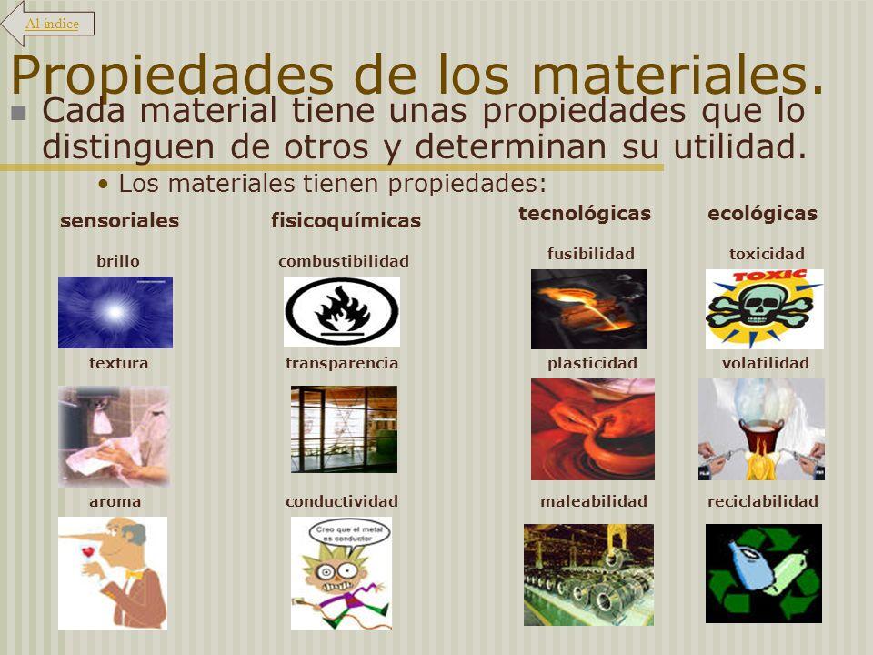 Propiedades de los materiales. Cada material tiene unas propiedades que lo distinguen de otros y determinan su utilidad. Los materiales tienen propied