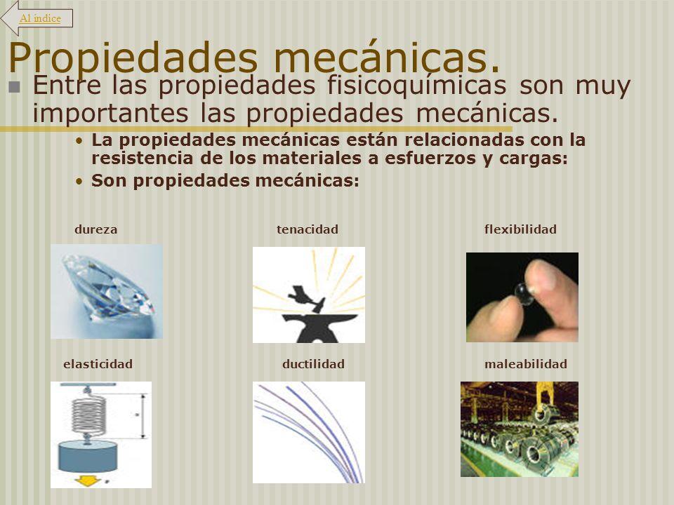 Propiedades mecánicas. Entre las propiedades fisicoquímicas son muy importantes las propiedades mecánicas. La propiedades mecánicas están relacionadas