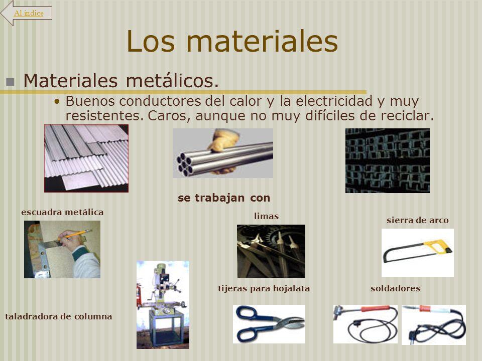 Los materiales Materiales metálicos. Buenos conductores del calor y la electricidad y muy resistentes. Caros, aunque no muy difíciles de reciclar. se