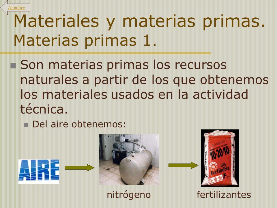 Materiales y materias primas. Materias primas 1. Son materias primas los recursos naturales a partir de los que obtenemos los materiales usados en la