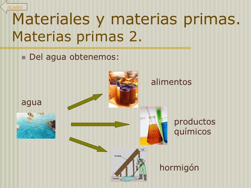 Materiales y materias primas. Materias primas 2. Del agua obtenemos: alimentos productos químicos hormigón agua Al índice