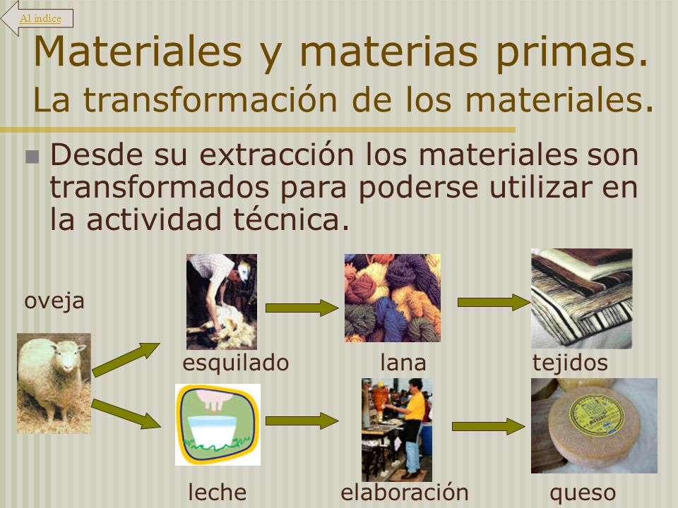 Materiales y materias primas. La transformación de los materiales. Desde su extracción los materiales son transformados para poderse utilizar en la ac